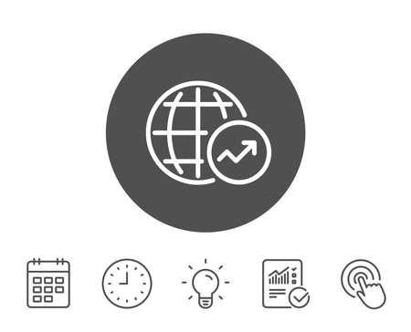 세계 통계 라인 아이콘입니다. 차트 또는 매출 성장 사인을보고하십시오. 데이터 분석 그래프 기호입니다. 보고서, 시계 및 캘린더 라인 표지판. 전구