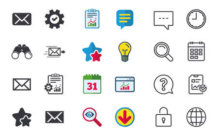 Mail envelope icons. Message delivery symbol. Post office letter signs. Chat, Report and Calendar signs. Stars, Statistics and Download icons. Question, Clock and Globe. Vector Illustration