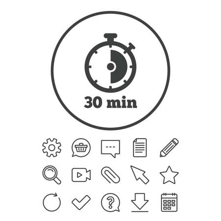 Timer sign icon. 30 minutes stopwatch symbol. Document, Chat and Paper clip line signs. Question, Pencil and Calendar line icons. Star, Download and Shopping cart. Vector Illustration