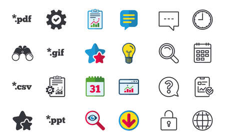 Document icons. File extensions symbols. PDF, GIF, CSV and PPT presentation signs. Chat, Report and Calendar signs. Stars, Statistics and Download icons. Question, Clock and Globe. Vector Illustration