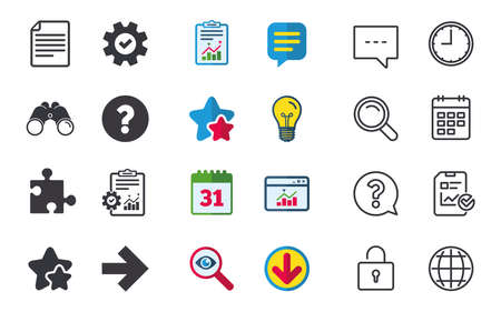 Question mark and puzzle piece icons. Document file and next arrow sign symbols. Chat, Report and Calendar signs. Stars, Statistics and Download icons. Question, Clock and Globe. Vector
