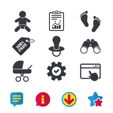 Baby infants icons. Toddler boy with diapers symbol. Buggy and dummy signs. Child pacifier and pram stroller. Child footprint step sign. Browser window, Report and Service signs. Vector