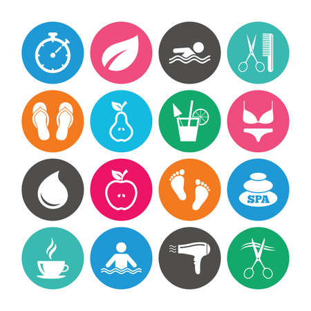 Set of Swimming pool, Spa and Hairdressing icons. Coffee, Cocktail and Apple signs. Water drop, Scissors and Hairdryer symbols. Colored circle buttons with flat signs. Vector Illustration