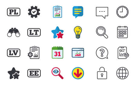 Language icons. PL, LV, LT and EE translation symbols. Poland, Latvia, Lithuania and Estonia languages. Chat, Report and Calendar signs. Stars, Statistics and Download icons. Question, Clock and Globe Stock Vector - 84797936