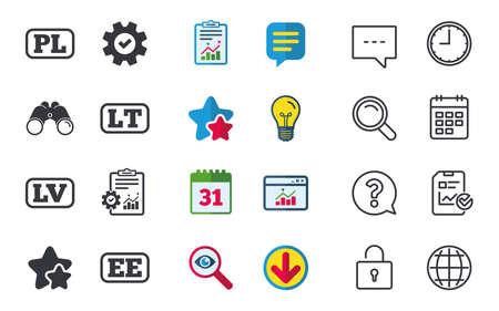 Taalpictogrammen. PL-, LV-, LT- en EE-vertaalsymbolen. Polen, Letland, Litouwen en Estland. Chat-, rapport- en kalenderborden. Sterren, Statistieken en Download pictogrammen. Vraag, klok en wereld