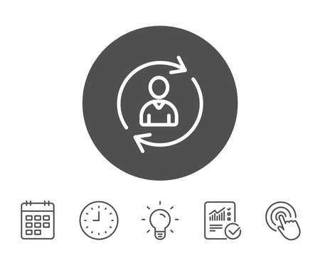 Human Resources line icon. User Profile sign. Person silhouette symbol. Refresh or Update sign. Report, Clock and Calendar line signs. Light bulb and Click icons. Editable stroke. Vector