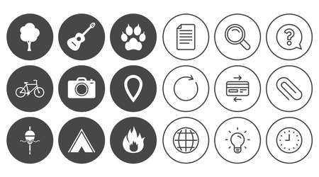 Tourism, camping icons. Fishing, fire and bike signs. Guitar music, photo camera and paw with clutches. Document, Globe and Clock line signs. Lamp, Magnifier and Paper clip icons. Vector