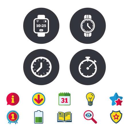 スマートな時計アイコン。機械式時計の時刻、ストップウォッチ タイマー シンボル。手首デジタル時計の記号。カレンダー、情報およびダウンロー
