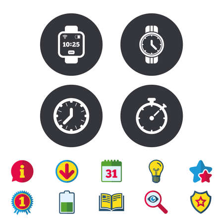 Smart watch icons. Mechanical clock time, Stopwatch timer symbols. Wrist digital watch sign. Calendar, Information and Download signs. Stars, Award and Book icons. Light bulb, Shield and Search Illustration