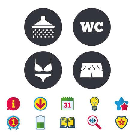 Zwembad pictogrammen. Douche waterdruppels en badmode symbolen. WC WC-teken. Trunks en damesondergoed. Kalender, informatie en downloadborden. Stars, Award en Book-pictogrammen. Vector