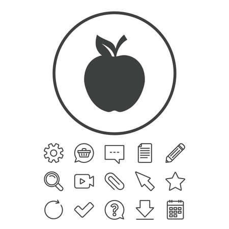 Apple sign icon. Fruit with leaf symbol. Document, Chat and Paper clip line signs. Question, Pencil and Calendar line icons. Star, Download and Shopping cart. Vector