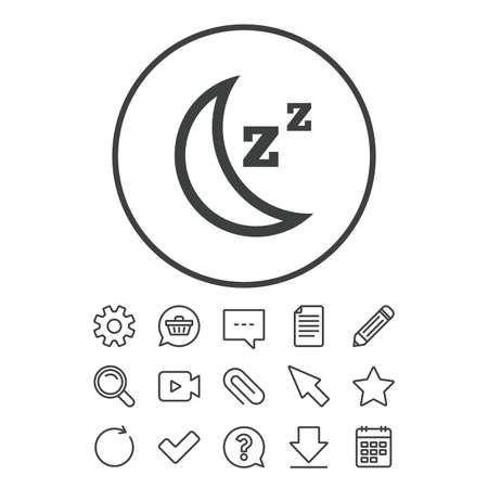 Sleep sign icon. Moon with zzz button. Standby. Document, Chat and Paper clip line signs. Question, Pencil and Calendar line icons. Star, Download and Shopping cart. Vector