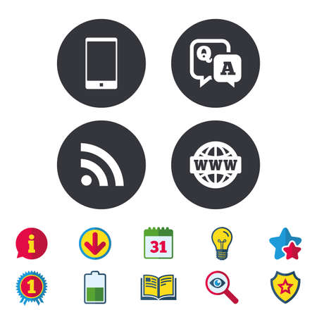 Question answer icon.  Smartphone and Q&A chat speech bubble symbols. RSS feed and internet globe signs. Communication Calendar, Information and Download signs. Stars, Award and Book icons. Vector