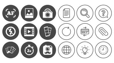 Foto, Video-Icons. Kamera, Fotos und Rahmenzeichen. Kein Blitz, Timer und keine Symbole. Zeichen-, Globe- und Clock-Linienzeichen. Symbole für Lampen, Lupen und Büroklammern. Frage, Kreditkarte und Aktualisieren Standard-Bild - 84795431