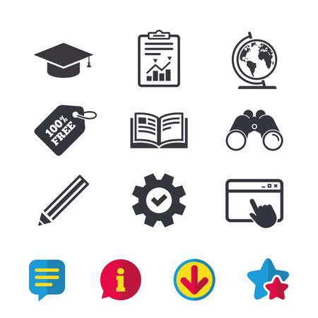 鉛筆と開いている本のアイコン。卒業キャップと地理世界のシンボル。教育は、標識を学ぶ。ブラウザー ウィンドウ、レポートとサービスの兆候。