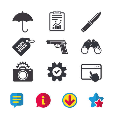 Gun weapon icon.Knife, umbrella and photo camera with flash signs. Edged hunting equipment. Prohibition objects. Browser window, Report and Service signs. Binoculars, Information and Download icons