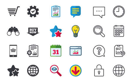 Online shopping icons. Smartphone, shopping cart, buy now arrow and internet signs. WWW globe symbol. Chat, Report and Calendar signs. Stars, Statistics and Download icons. Question, Clock and Globe