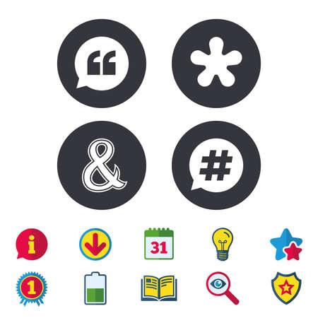 Citaat, asterisk voetnootpictogrammen. Hashtag sociale media en ampersand-symbolen. Logische operator EN teken programmeren. Spraak bubbel. Kalender, informatie en downloadborden. Pictogrammen voor sterren, awards en boeken