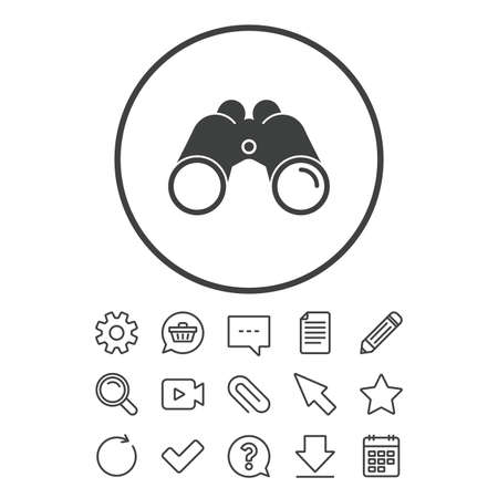 Binoculars icon. Find software sign. Spy equipment symbol. Document, Chat and Paper clip line signs. Question, Pencil and Calendar line icons. Star, Download and Shopping cart. Vector Ilustração