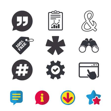 Citaat, asterisk voetnoot iconen. Hashtag sociale media en ampersand symbolen. Programmeren van logische operator en teken. Spraak bubbel. Browservenster, Rapport en Service tekens. Vector Stock Illustratie
