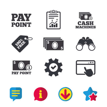 Cash and coin icons. Cash machines or ATM signs. Pay point or Withdrawal symbols. Browser window, Report and Service signs. Binoculars, Information and Download icons. Stars and Chat. Vector
