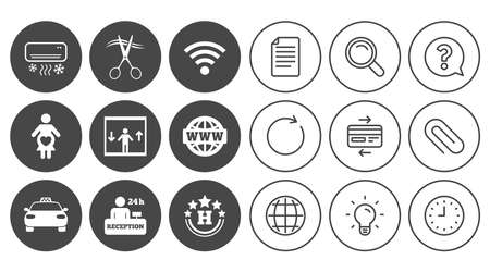 Hotel, apartment service icons. Barbershop sign. Pregnant woman, wireless internet and air conditioning symbols. Document, Globe and Clock line signs. Lamp, Magnifier and Paper clip icons. Vector Çizim
