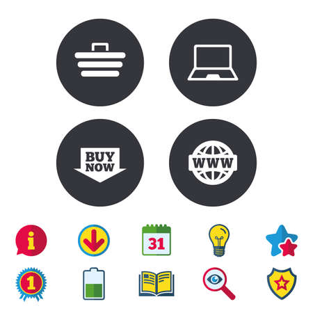 Online shopping icons. Notebook pc, shopping cart, buy now arrow and internet signs. WWW globe symbol. Calendar, Information and Download signs. Stars, Award and Book icons. Vector Illustration