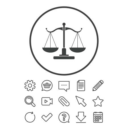 Scales of Justice sign icon. Court of law symbol. Document, Chat and Paper clip line signs. Question, Pencil and Calendar line icons. Star, Download and Shopping cart. Vector Stock Illustratie