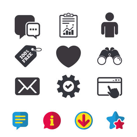 Social media icons. Chat speech bubble and Mail messages symbols. Love heart sign. Human person profile. Browser window, Report and Service signs. Binoculars, Information and Download icons. Vector Illustration