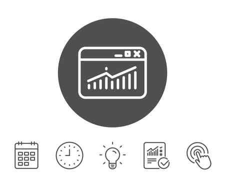 웹 사이트 트래픽 줄 아이콘입니다. 차트 또는 매출 성장 사인을보고하십시오. 분석 및 통계 데이터 기호입니다. 보고서, 시계 및 캘린더 라인 표지판.