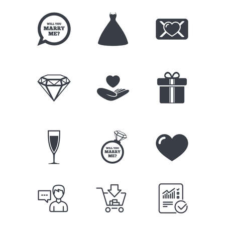 Wedding, engagement icons. Love oath letter, gift box and brilliant signs. Dress, heart and champagne glass symbols. Customer service, Shopping cart and Report line signs. Vector Illustration