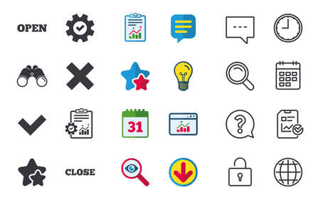Open and Close icons. Check or Tick. Delete remove signs. Yes correct and cancel symbol. Chat, Report and Calendar signs. Stars, Statistics and Download icons. Question, Clock and Globe. Vector Illustration