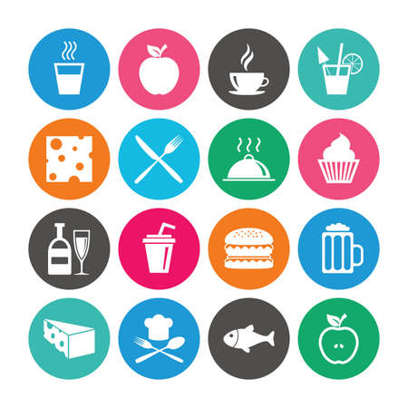 Set of Food and Drinks icons. Restaurant meal, Wine and Cheese signs. Burger, Coffee and Beer symbols. Colored circle buttons with flat signs. Vector Illustration