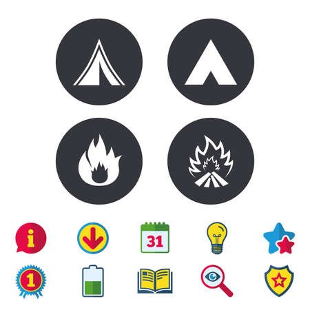 Tourist camping tent icons. Fire flame sign symbols. Calendar, Information and Download signs. Stars, Award and Book icons. Light bulb, Shield and Search. Vector Ilustrace