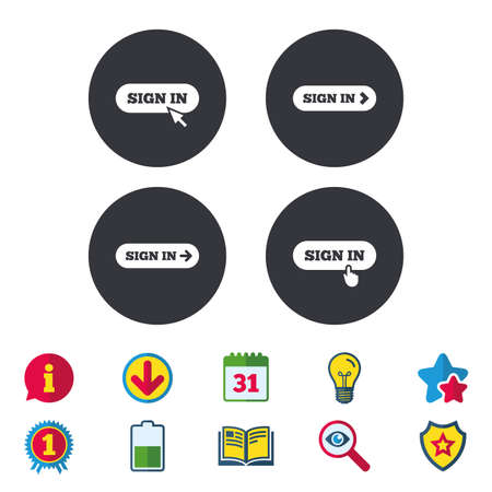 Sign in icons. Login with arrow, hand pointer symbols. Website or App navigation signs. Calendar, Information and Download signs. Stars, Award and Book icons. Light bulb, Shield and Search. Vector Illustration