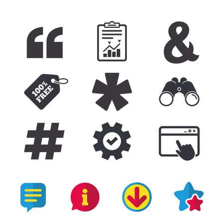 Citaat, asterisk voetnootpictogrammen. Hashtag sociale media en ampersand-symbolen. Logische operator EN teken programmeren. Browservenster, rapport en serviceborden. Verrekijker, informatie en download pictogrammen Stockfoto - 84809563