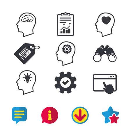Hoofd met hersenen en idee gloeilamp pictogrammen. Mannelijke mens denk symbolen. Tandrad versnellingen tekenen. Liefde hart. Browservenster, rapport en serviceborden. Verrekijker, informatie en download pictogrammen. Vector