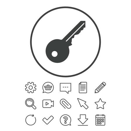 Key sign icon. Unlock tool symbol. Document, Chat and Paper clip line signs. Question, Pencil and Calendar line icons. Star, Download and Shopping cart. Vector