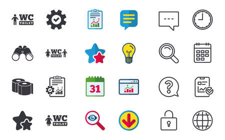 Toilet paper icons. Gents and ladies room signs. Man and woman symbols. Chat, Report and Calendar signs. Stars, Statistics and Download icons. Question, Clock and Globe. Vector