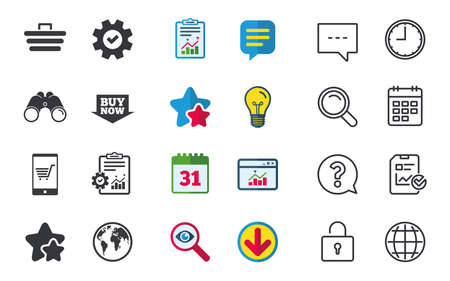 Online shopping icons. Smartphone, shopping cart, buy now arrow and internet signs. WWW globe symbol. Chat, Report and Calendar signs. Stars, Statistics and Download icons. Question, Clock and Globe Stock Vector - 84798264