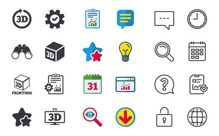 3d tv technology icons. Printer, rotation arrow sign symbols. Print cube. Chat, Report and Calendar signs. Stars, Statistics and Download icons. Question, Clock and Globe. Vector Illustration