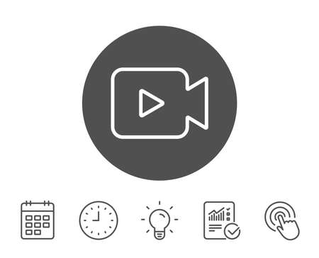 Video Camera line icon. Movie or Cinema sign. Multimedia symbol. Report, Clock and Calendar line signs. Light bulb and Click icons. Editable stroke. Vector Çizim