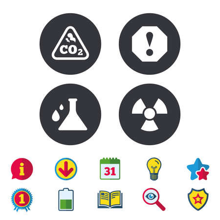 Attention and radiation icons. Chemistry flask sign. CO2 carbon dioxide symbol. Calendar, Information and Download signs. Stars, Award and Book icons. Light bulb, Shield and Search. Vector Çizim