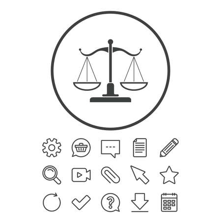 Scales Of Justice Sign Icon Court Of Law Symbol Document Chat