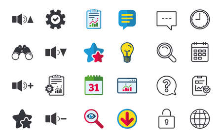 Player control icons. Sound louder and quieter signs. Dynamic symbol. Chat, Report and Calendar signs. Stars, Statistics and Download icons. Question, Clock and Globe. Vector