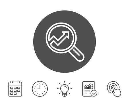 グラフの線のアイコン。レポート グラフまたは虫眼鏡で売上成長のサインです。分析と統計データのシンボル。レポート、時計とカレンダーの線標  イラスト・ベクター素材