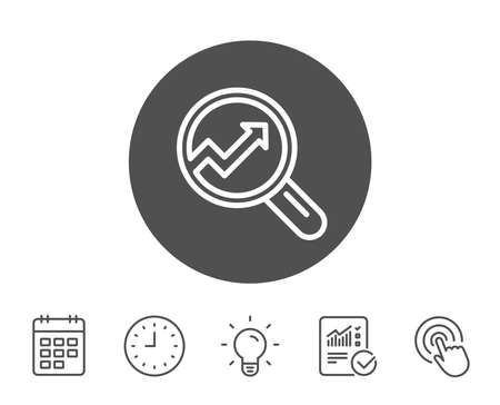 Chart line icon. Report graph or Sales growth sign in Magnifying glass. Analysis and Statistics data symbol. Report, Clock and Calendar line signs. Light bulb and Click icons. Editable stroke. Vector Çizim