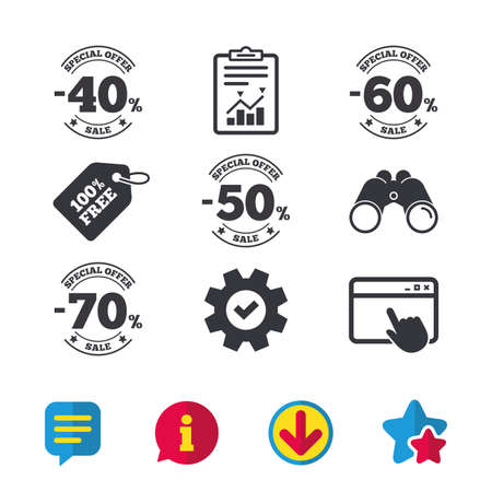 Sale discount icons. Special offer stamp price signs. 40, 50, 60 and 70 percent off reduction symbols. Browser window, Report and Service signs. Binoculars, Information and Download icons. Vector Illustration