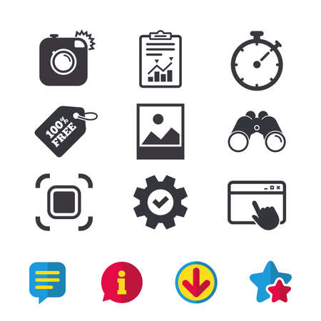 Hipster retro photo camera icon. Autofocus zone symbol. Stopwatch timer sign. Landscape photo frame. Browser window, Report and Service signs. Binoculars, Information and Download icons. Vector Ilustração