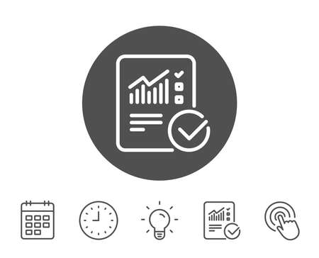 Checklist document line icon. Analysis Chart or Sales growth report sign. Statistics data symbol. Report, Clock and Calendar line signs. Light bulb and Click icons. Editable stroke. Vector